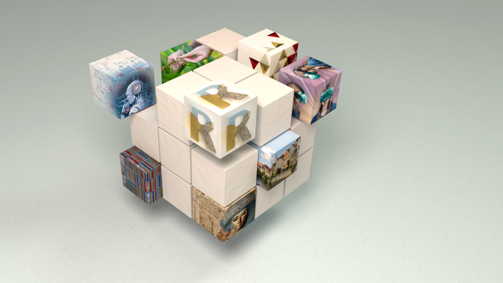 Cube made of smaller cubes, each showing images related to research areas