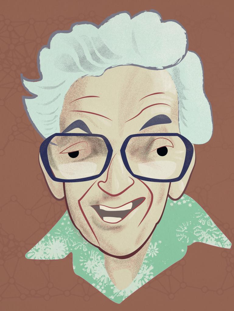 Cartoon portrait of the mathematician Paul Erdős