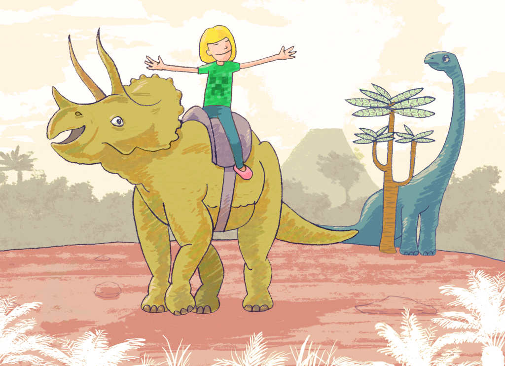 A happy girl riding a Stegosaurus in the time of the dinosaurs