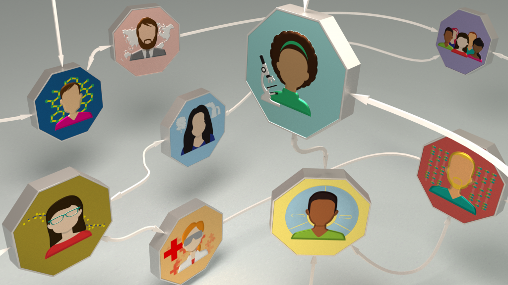 Floating octagons with headshots of scientific researchers, interlinked by a network of arrows