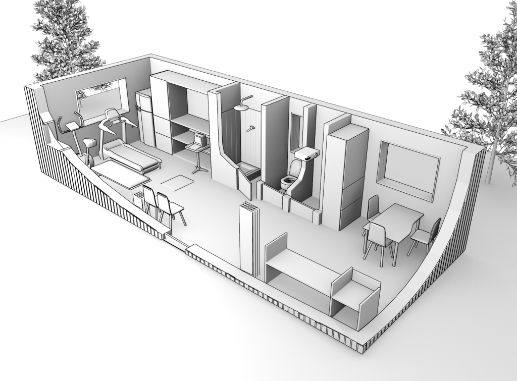 Cutaway 3D image of a physiology lab