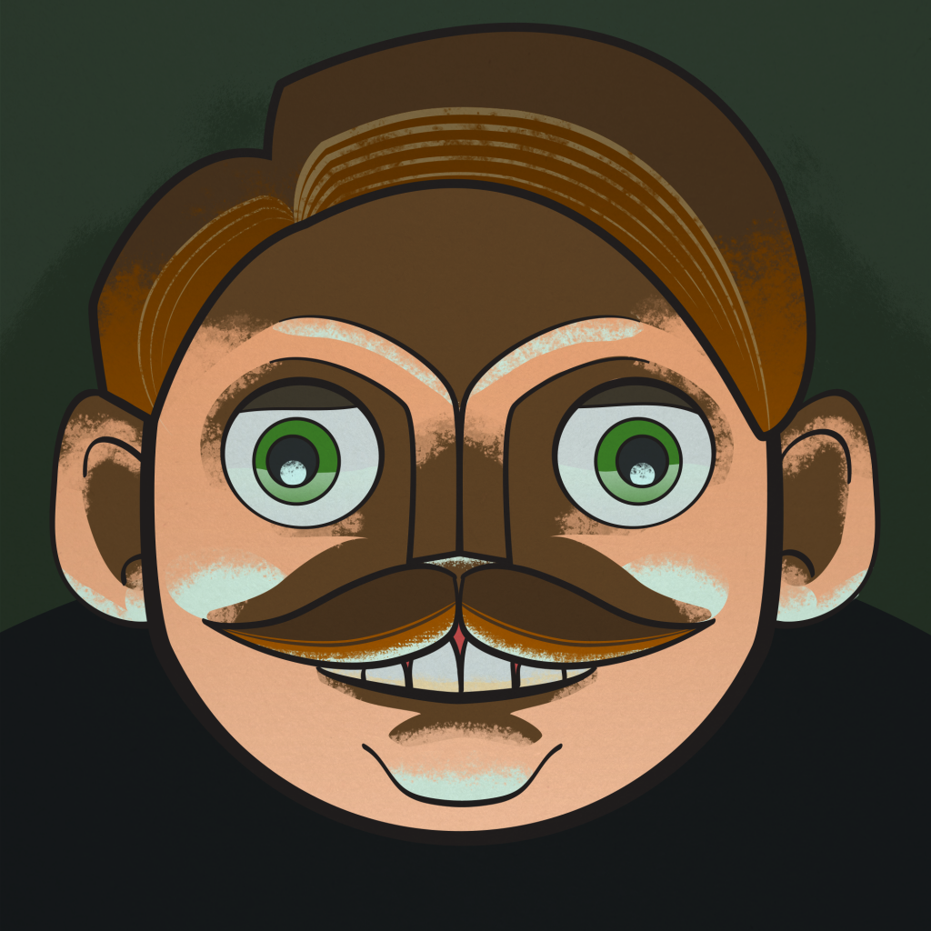 A creepy smiling green-eyed man with a waxed moustache