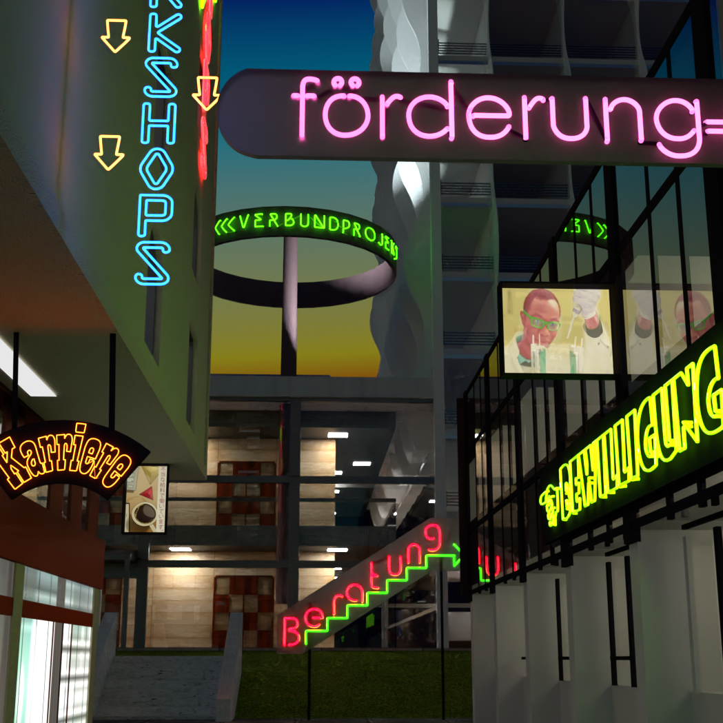 3D Image of a street lit by neon signs